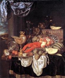 Großes Stillleben mit Hummer, 1653 von Abraham Beyeren | Gemälde-Reproduktion