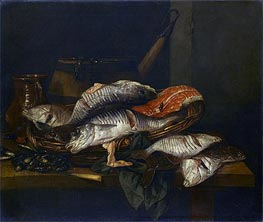 Still Life with Fish, c.1650/70 von Abraham Beyeren | Gemälde-Reproduktion