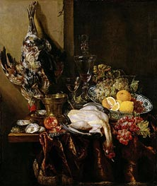 Still Life with Fowl and Fruits, c.1680 von Abraham Beyeren | Gemälde-Reproduktion