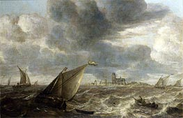 A River Landscape with Fishing Boats in a Strong Breeze Before a Town, Probably Dordrecht | Abraham Beyeren | Painting Reproduction