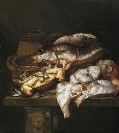 Still Life with Fish, c.1650/90 von Abraham Beyeren | Gemälde-Reproduktion