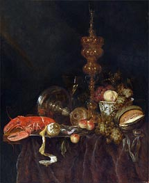 Still Life with Lobster and Fruit, c.1650/60 von Abraham Beyeren | Gemälde-Reproduktion