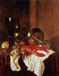 Still Life with a Lobster, Undated by Abraham Beyeren | Painting Reproduction