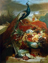Still Life with Peacock and Fruits in Chinese Bowl, undated by Abraham Beyeren | Painting Reproduction