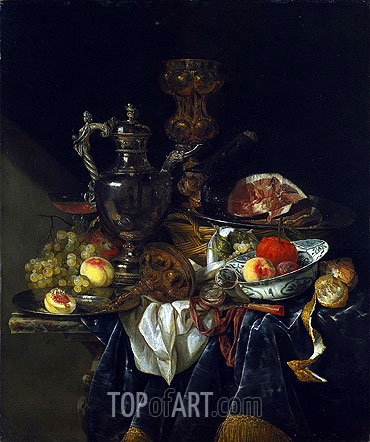 Still Life with a Silver Wine Jug, c.1660/65 | Abraham Beyeren| Painting Reproduction
