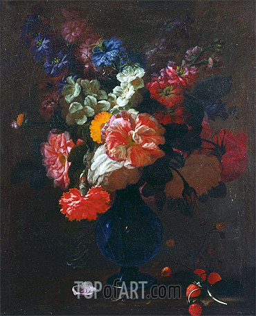 Flowers in a Vase on a Ledge, undated | Abraham Beyeren | Gemälde Reproduktion