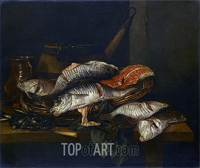 Still Life with Fish, c.1650/70 | Abraham Beyeren| Gemälde Reproduktion