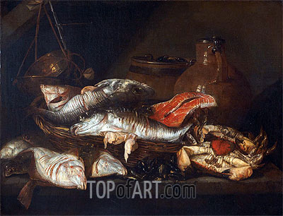 Still Life with Fish, undated | Abraham Beyeren | Painting Reproduction