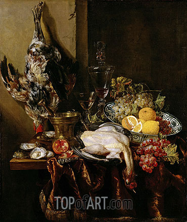 Still Life with Fowl and Fruits, c.1680 | Abraham Beyeren| Painting Reproduction