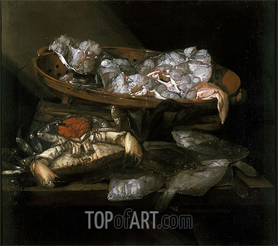 Still Life with Plaices and Crabs, c.1646/55 | Abraham Beyeren | Painting Reproduction