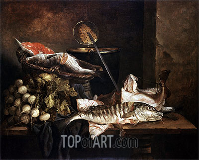 Still Life with Fish, c.1650 | Abraham Beyeren| Painting Reproduction
