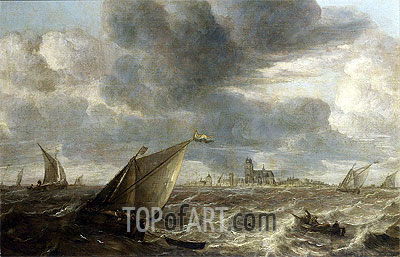 A River Landscape with Fishing Boats in a Strong Breeze Before a Town, Probably Dordrecht, undated | Abraham Beyeren| Painting Reproduction