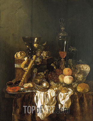 Still Life with Fruit and Sumptuous Objects, c.1655 | Abraham Beyeren | Painting Reproduction