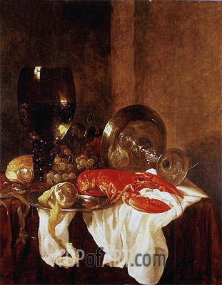 Still Life with a Lobster,  | Abraham Beyeren | Painting Reproduction