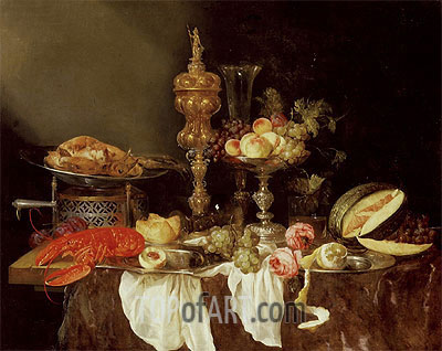 Still Life with a Lobster and Turkey, 1653 | Abraham Beyeren | Painting Reproduction