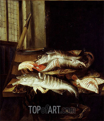 Interior with Still Life of Fish, c.1655/66 | Abraham Beyeren| Gemälde Reproduktion