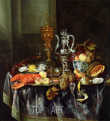 Still Life with Fruit and Shellfish,  | Abraham Beyeren| Painting Reproduction