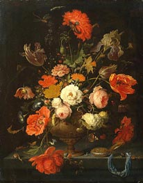 Still Life with Flowers and Watch, c.1664/79 by Abraham Mignon | Painting Reproduction