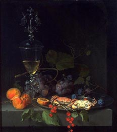 Still Life with Crabs on a Pewter Plate, c.1669/72 by Abraham Mignon | Painting Reproduction
