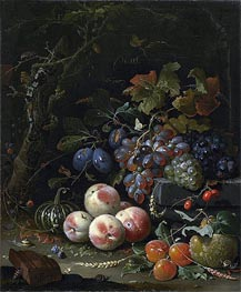 Still Life with Fruits, Foliage and Insects | Abraham Mignon | Painting Reproduction