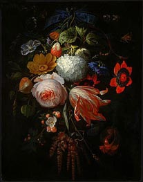 A Hanging Bouquet of Flowers | Abraham Mignon | Painting Reproduction