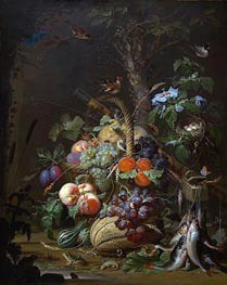 Still Life with Fruit, Fish and a Nest | Abraham Mignon | Painting Reproduction