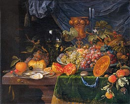 Still Life with Fruit and Oysters, c.1660/79 by Abraham Mignon | Painting Reproduction