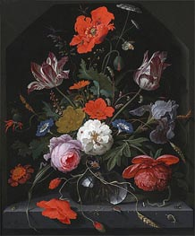 Flowers in a Glass Vase on a Ledge | Abraham Mignon | outdated