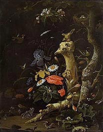Field Flowers and Birds, undated by Abraham Mignon | Painting Reproduction