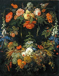 A Floral Wreath and Fruits, undated by Abraham Mignon | Painting Reproduction