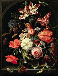 Still Life of Flowers on a Ledge | Abraham Mignon | Painting Reproduction