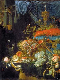Still Life with Fruit and a Goldfinch | Abraham Mignon | Gemälde Reproduktion