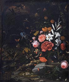Still Life with Flowers and Animals, 1670 by Abraham Mignon | Painting Reproduction