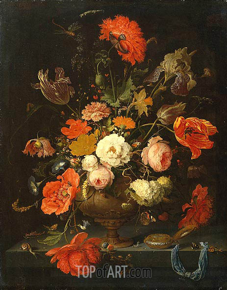 Still Life with Flowers and Watch, c.1664/79 | Abraham Mignon | Painting Reproduction