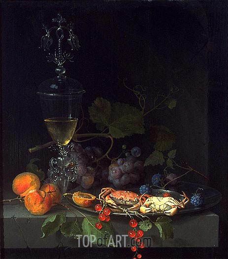 Still Life with Crabs on a Pewter Plate, c.1669/72 | Abraham Mignon| Gemälde Reproduktion