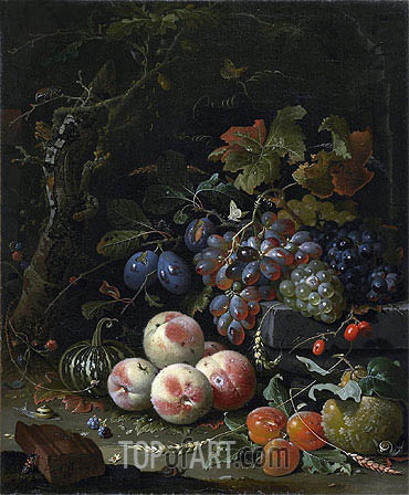 Abraham Mignon | Still Life with Fruits, Foliage and Insects, c.1669
