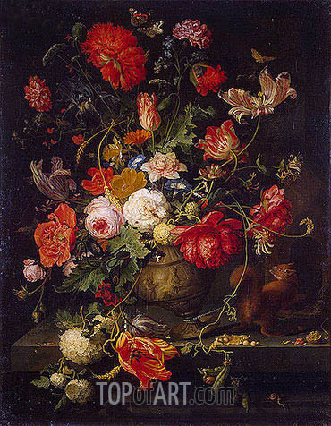 Vase of Flowers, b.1797 | Abraham Mignon| Painting Reproduction