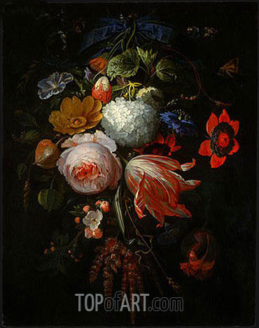 Abraham Mignon | A Hanging Bouquet of Flowers, c.1665/70