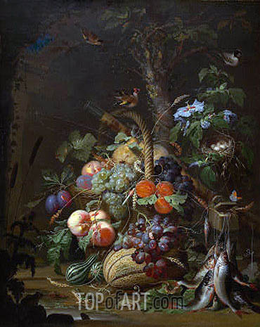 Still Life with Fruit, Fish and a Nest, c.1675 | Abraham Mignon | Gemälde Reproduktion