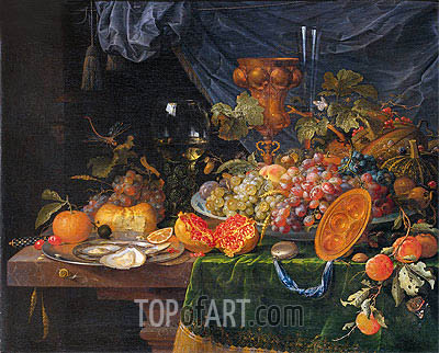 Still Life with Fruit and Oysters, c.1660/79 | Abraham Mignon| Gemälde Reproduktion