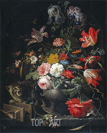 Abraham Mignon | Still Life with Flowers, Cat and Mousetrap, c.1670/80