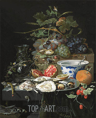 Still Life with Fruit, Oysters and Porcelain Bowl, c.1660/79 | Abraham Mignon| Painting Reproduction