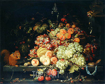 Still Life with Fruit, Squirrel and Goldfinch, undated | Abraham Mignon| Painting Reproduction