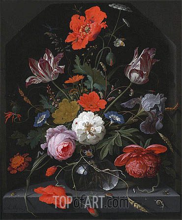Abraham Mignon | Flowers in a Glass Vase on a Ledge, c.1665/70