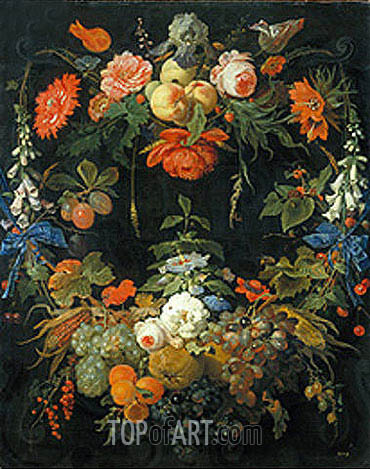 Abraham Mignon | A Floral Wreath and Fruits, undated