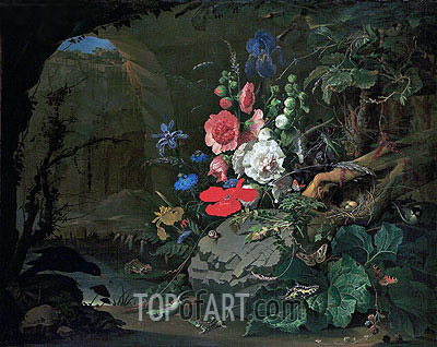 Flowers and Animals in a Casemate, undated | Abraham Mignon| Painting Reproduction