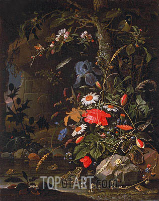 Woodland Still Life, undated | Abraham Mignon| Painting Reproduction