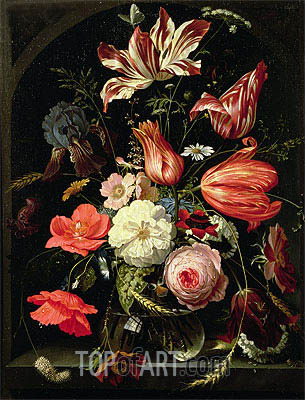 Still Life of Flowers on a Ledge, undated | Abraham Mignon| Painting Reproduction