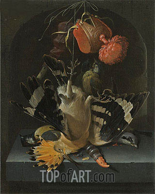 Still Life with a Hoopoe, undated | Abraham Mignon| Painting Reproduction