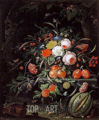 Still Life with Flowers and Fruit, c.1660/80 | Abraham Mignon | Painting Reproduction